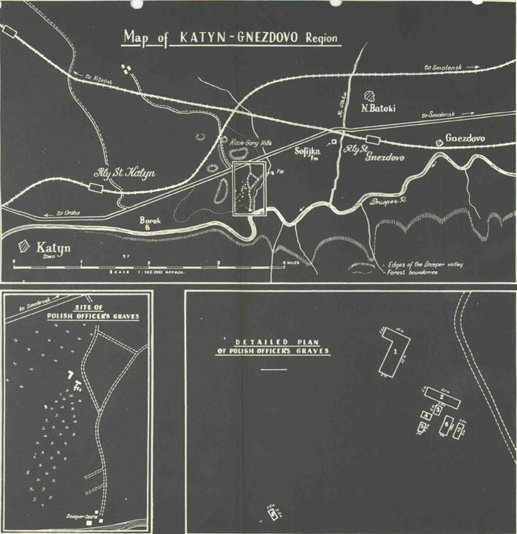 Mapa Lasu Katyńskiego z zaznaczonymi grobami polskich oficerów. Fot. National Archives