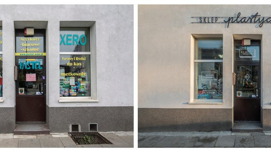 Szyldy lokalnych zakładów rzemieślniczych w Warszawie