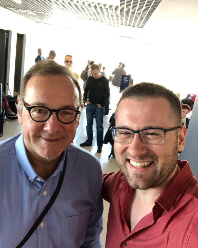 Stefan Urošević i Kevin Spejsi danas na aerodromu