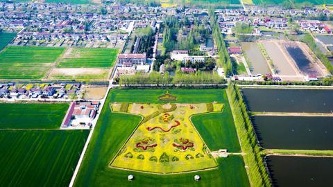 Kwiaty rzepaku uformowane w kształt złotych, cesarskich szat w chińskim mieście Nanjing. Z okazji święta zmarłych Qingming Chińczycy wspominali pamięć Huangdi, Żółtego Cesarza, legendarnego założyciela całego narodu.
