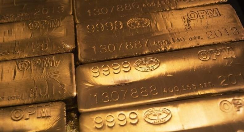 24 karat gold bars are seen at the United States West Point Mint facility in West Point, New York, in a file photo. REUTERS/Shannon Stapleton