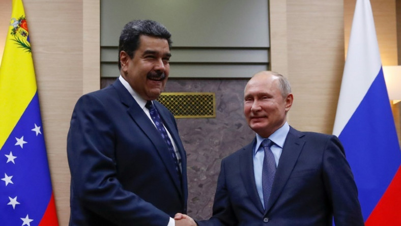 Moscow sent two TU-160 bombers to Venezuela December 2018 days after Russian President Vladimir Putin (R) met with Venezuela's Nicolas Maduro met in Moscow