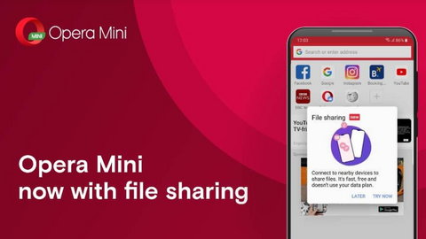 Opera Mini becomes the first browser to introduce offline file sharing. (Opera Mini)