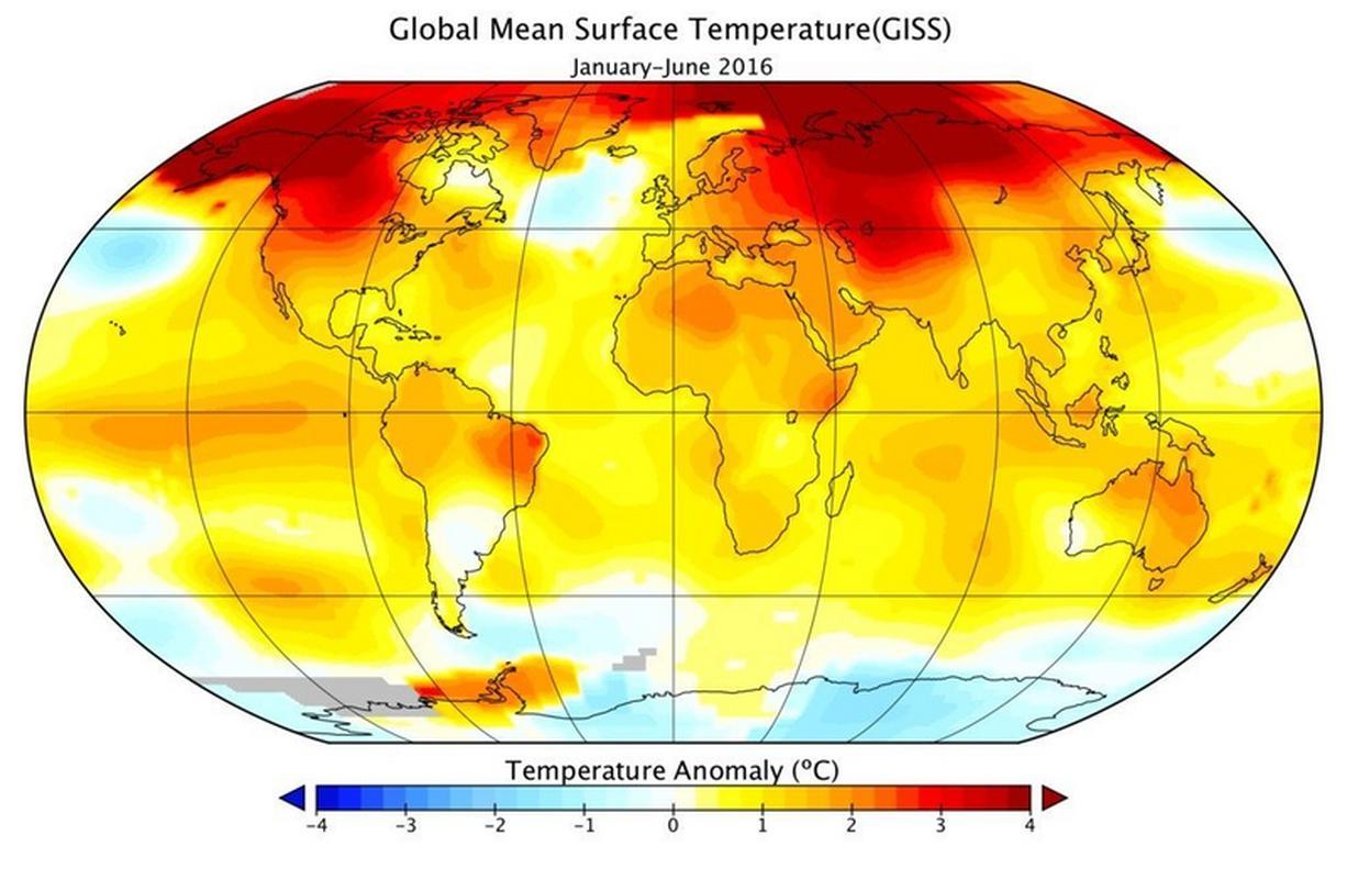 Mapa pokazująca średnią temperaturę powierzchni na świecie w I półroczu 2016 roku