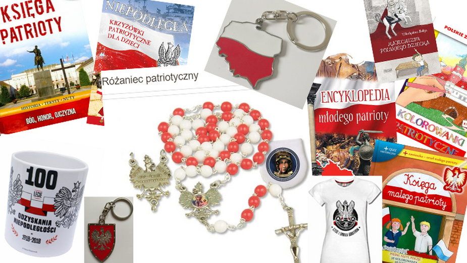 Niektóre produkty patriotyczne oferowane na Splendor24