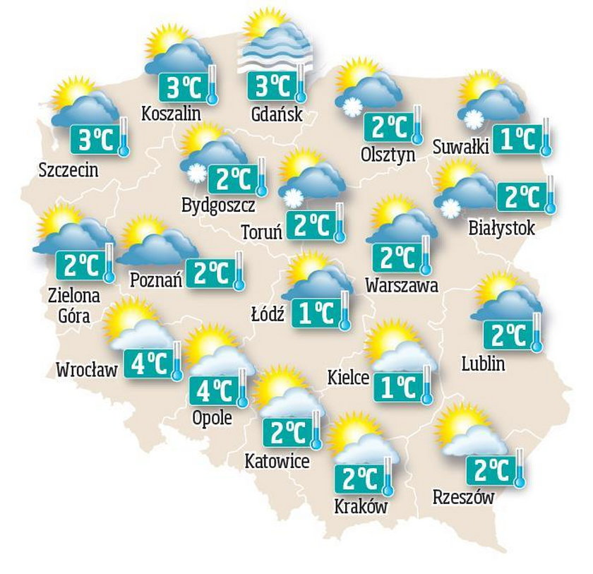 Prognoza pogody na piątek, 1 stycznia