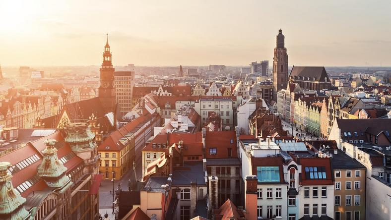 Panorama of the city skyline at sunset Wroclaw, Poland