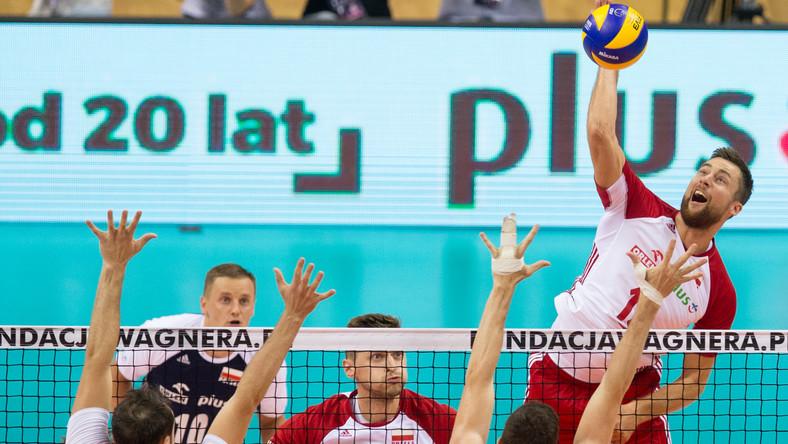Michał Kubiak podczas meczu Polski z Kanadą na XVI Memoriale Huberta Wagnera w 2018 roku
