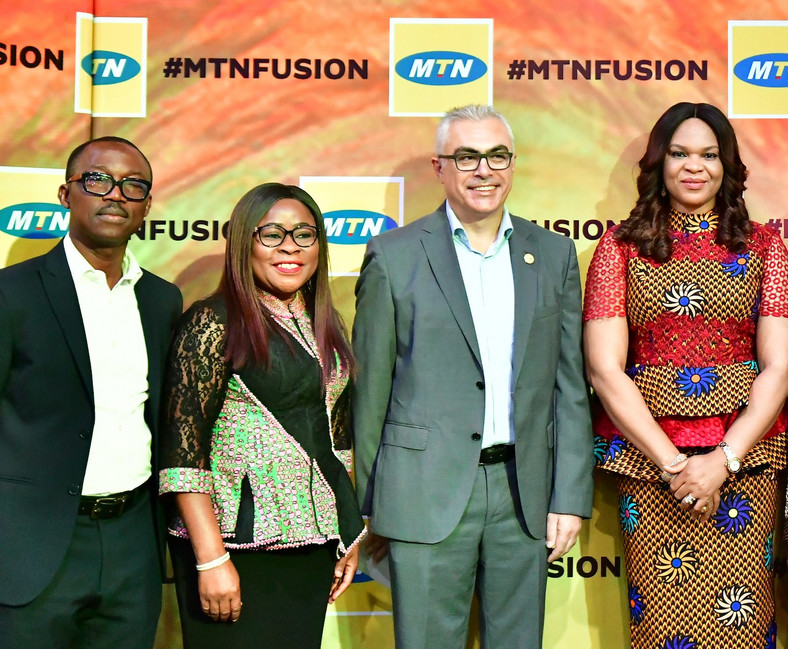 Sales and Distribution Executive, MTN Nigeria, Adekunle Adebiyi; Human Resource Executive, MTN Nigeria, Esther Akinnukawe; COO MTN Nigeria, Mazen Mroue and Chief Enterprise Business Officer, MTN Nigeria, Lynda Saint-Nwafor at the maiden edition of MTN Partner Summit in Lagos state