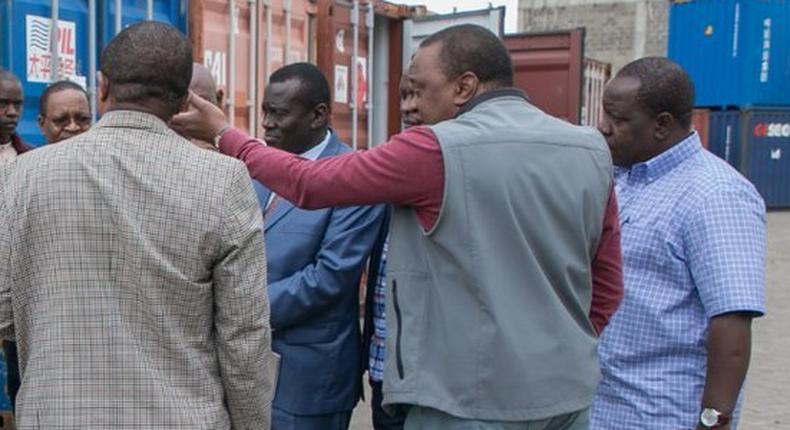 President Uhuru Kenyatta with top government officials at Embakasi Inland Container Terminal (PSCU)