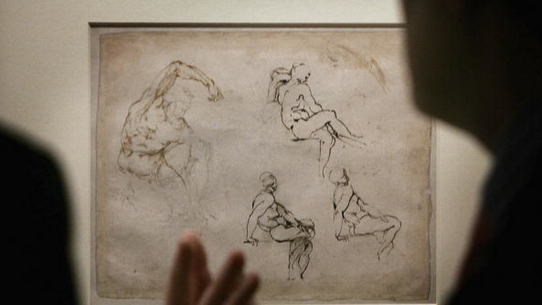 "Kadr z wystawy pracy Michała Anioła - ""Michelangelo Drawings: Closer to the Master Exhibition"" w The British Museum"