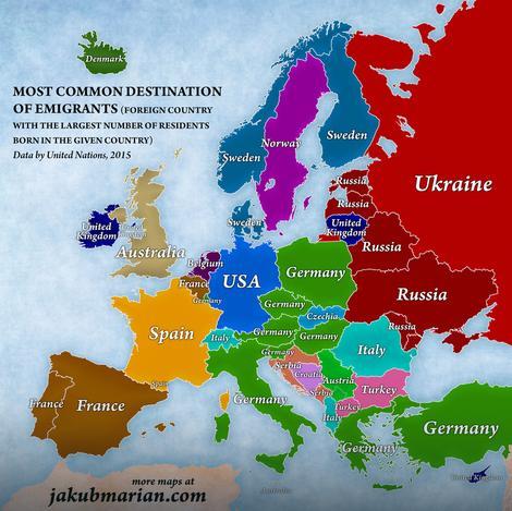 Procenat ljudi koji se iselio iz zemalja na mapi