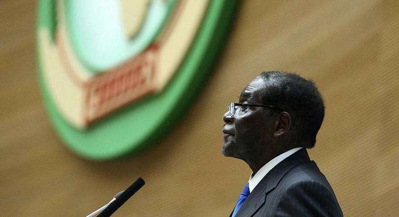 The late Robert Mugabe as AU chairman. (Euronews)