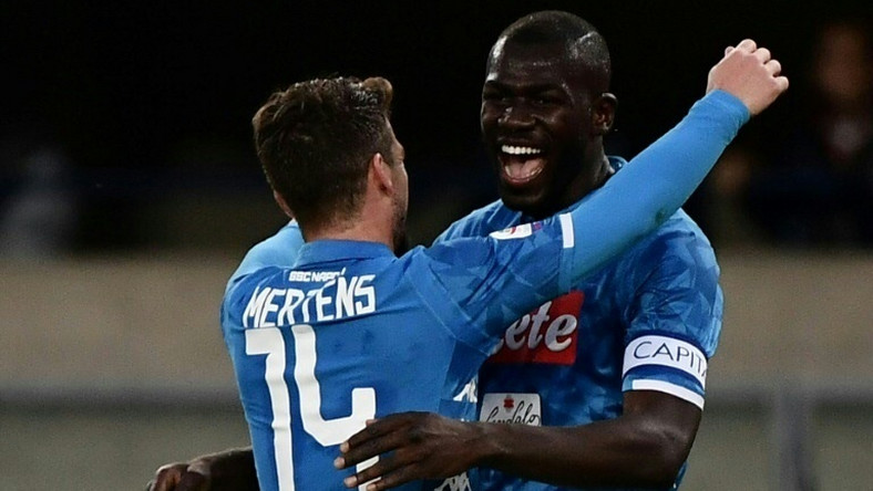Napoli's Senegalese defender Kalidou Koulibaly (R) scored his first league goals this season