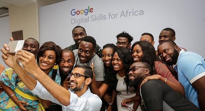 Google CEO Sundar Pichai takes a selfie in Lagos, which he posted to Twitter SUNDAR PICHAI, TWITTER