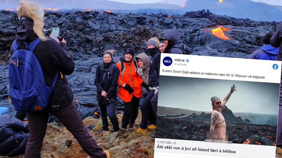Islandzki przewodnik zrobił... striptiz na tle wybuchającego wulkanu Fagradalsfjall