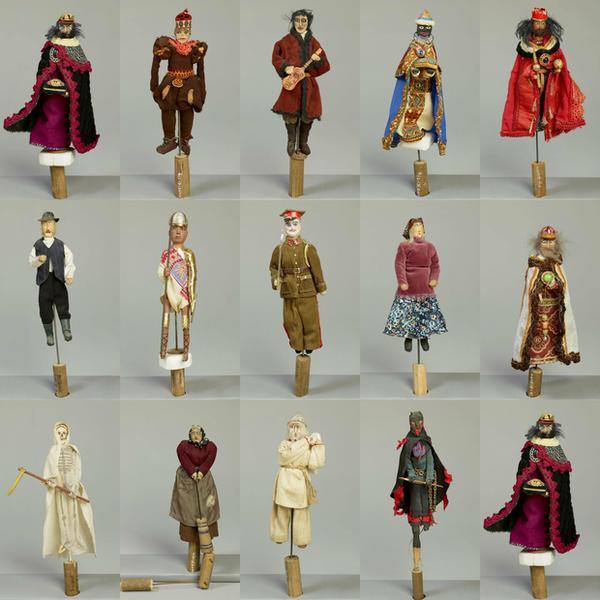 Kolekcja postaci z szopek w skansenie w Wygiełzowie