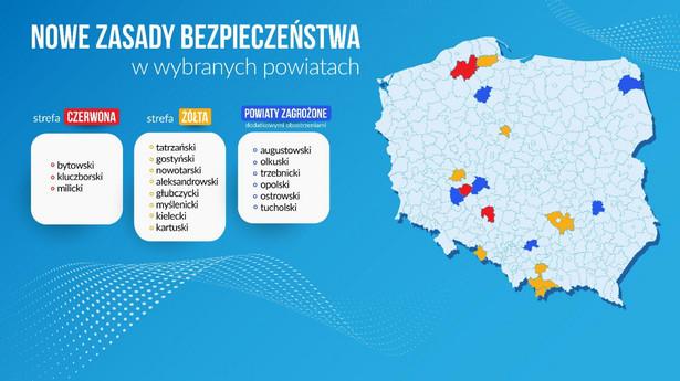 Powiaty według kategorii obostrzeń COVID-19 - nowe zasady bezpieczeństwa (17.09)