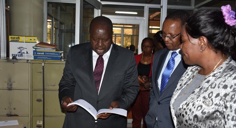 CS Fred Matiangi with PS Karanja Kibicho at the Nairobi Civil Registry office