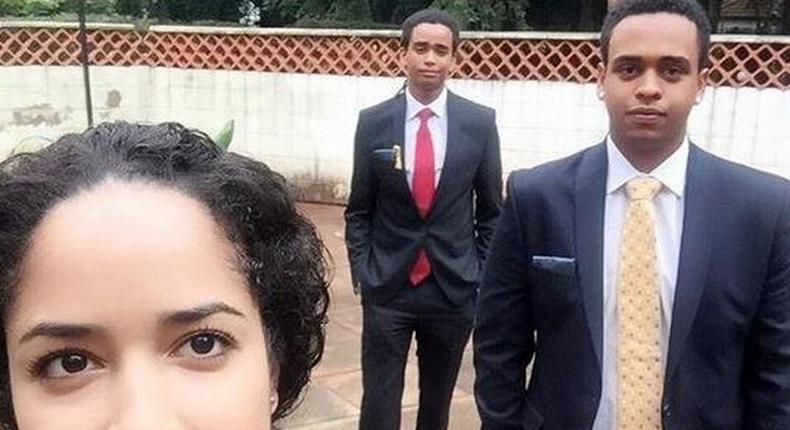 L-R: Coralie Vivares, Sean Kibaki, Mwai Kibaki Jnr