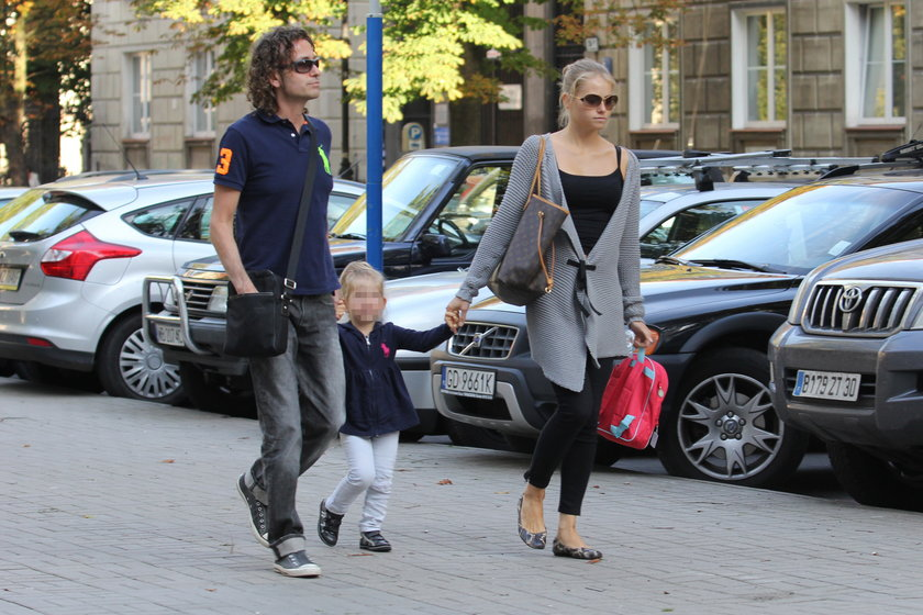 Piotr Rubik z żoną Agatą i córką