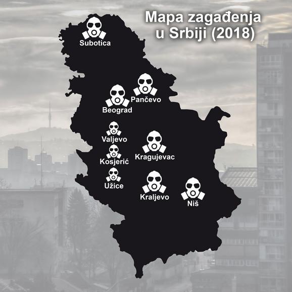 Gradovi u kojima je zagađenje vazduha najveće