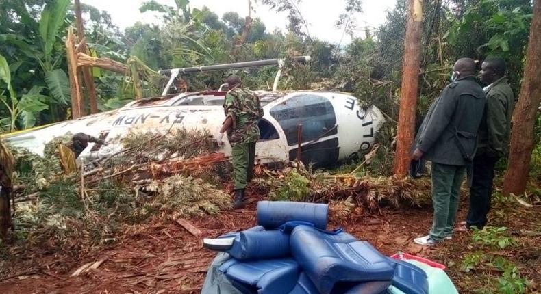 Police Helicopter crash-lands in Meru  (Courtesy)