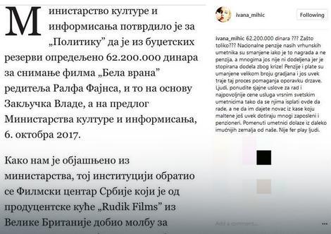 Objava Ivane Mihić na instagramu