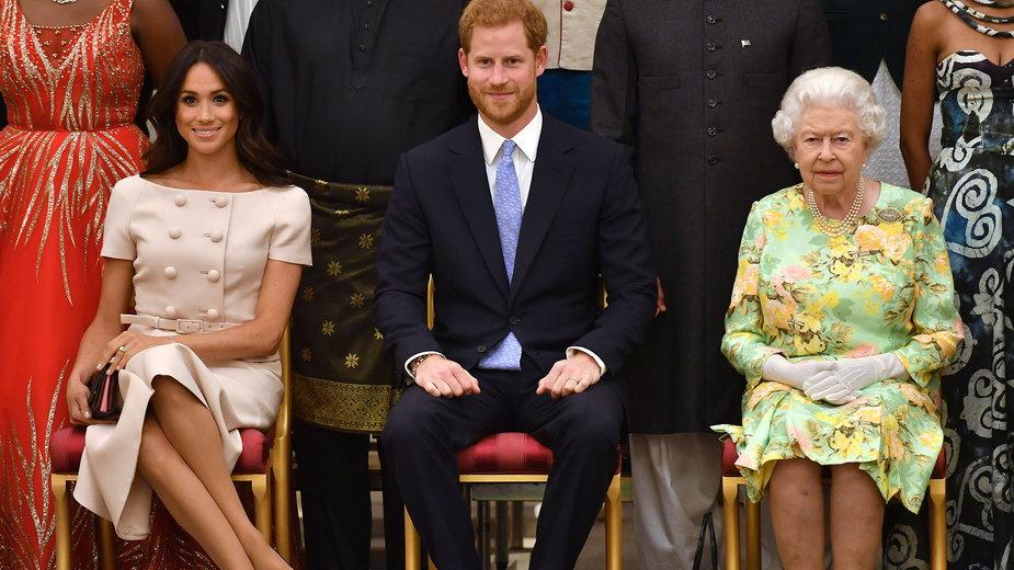 Meghan Markle, książę Harry i Elżbieta II w 2018 r.