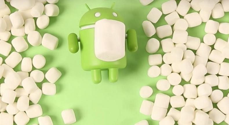 The Android Mascot surrounded by marshmallows