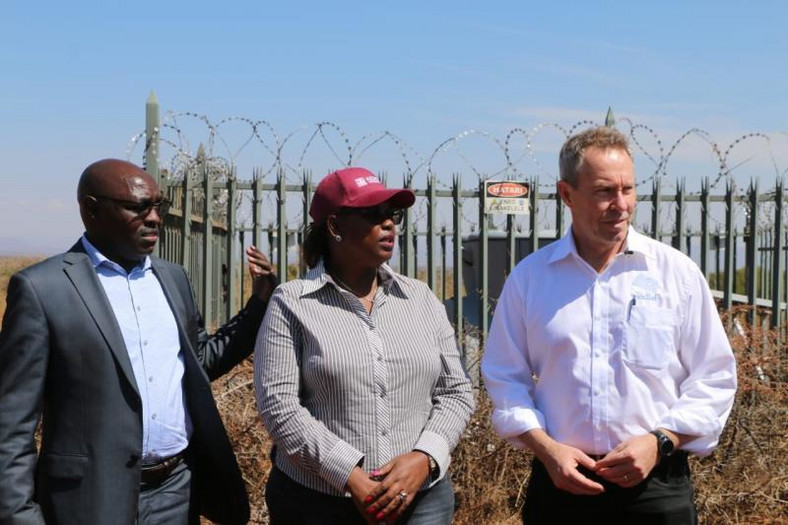 From right: Windlab CEO Roger Price, Meru County Investment and Development Corporation Chairperson Felicity Biriri and Meru County Land and Physical Planning Executive Jeremiah Leenya at the site of the wind power project in Athwana, Tigania West in Meru. (Standard)