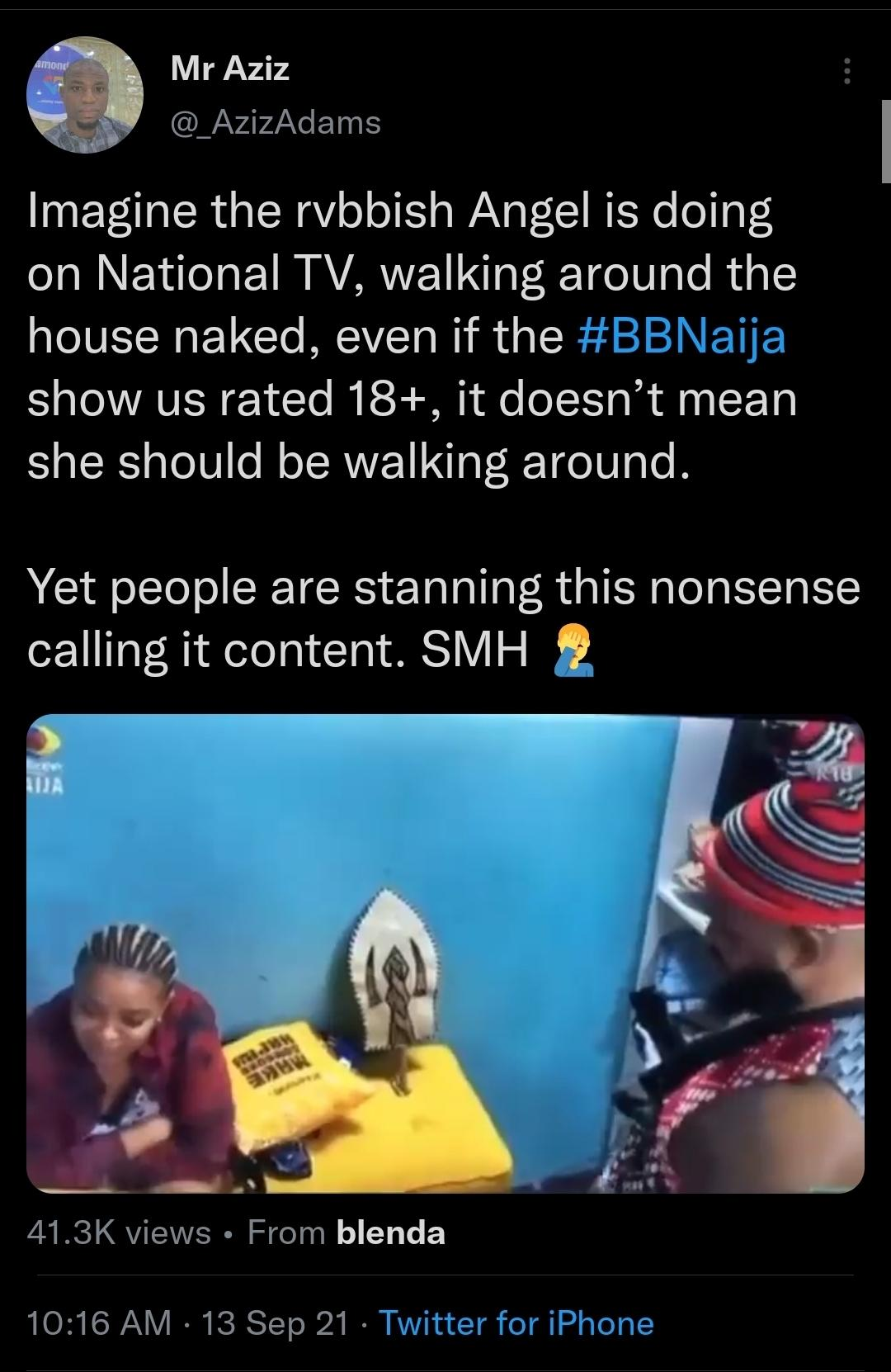 BBNaija 2021: Twitter reacts to video of Angel flashing private to housemates