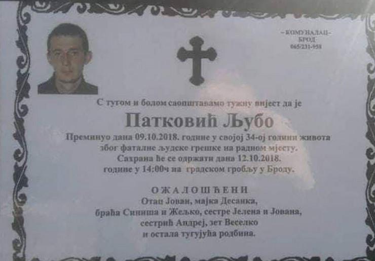 smrtovnica Ljubo Patkovic radnik rafinerija
