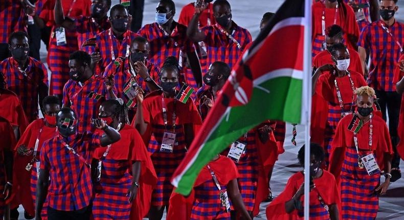 Kenya's delegation parade during the opening ceremony of the Tokyo 2020 Olympic Games, at the Olympic Stadium, in Tokyo, on July 23, 2021. (Photo by Ben STANSALL / AFP) (Photo by BEN STANSALL/AFP via Getty Images)