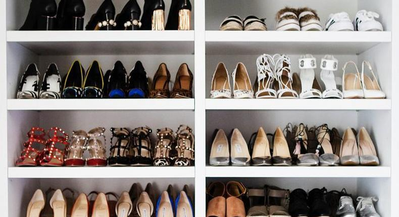 A closet-like shoe rack. You may not have enough space but you can maximize on the available space to make a shoe rack out of it.
