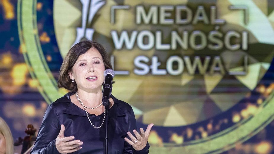 Vera Jourova podczas gali wręczenia Medalu Wolności Słowa w Gdańsku