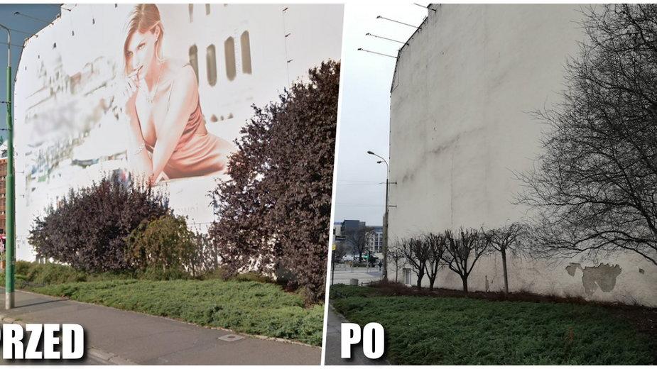 Poznań: obcięli drzewa, żeby odsłonić nielegalną reklamę