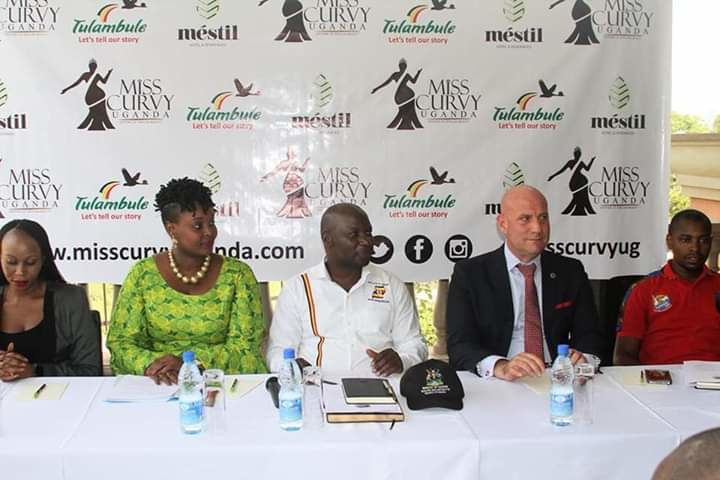 Tourism state minister Godfrey Ssuubi Kiwanda at the launch of Miss Curvy