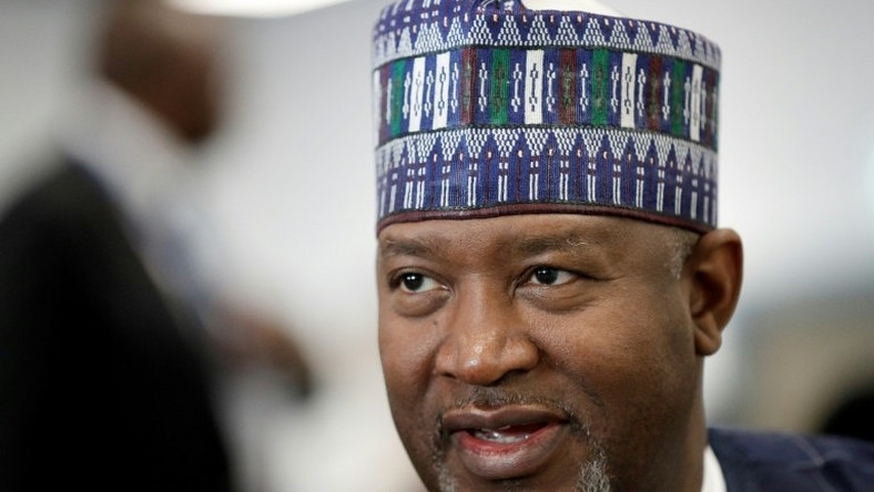 Nigeria's aviation minister Hadi Sirika, pictured July 2018, says that the relaunch of the country's national airline is indefinitely suspended
