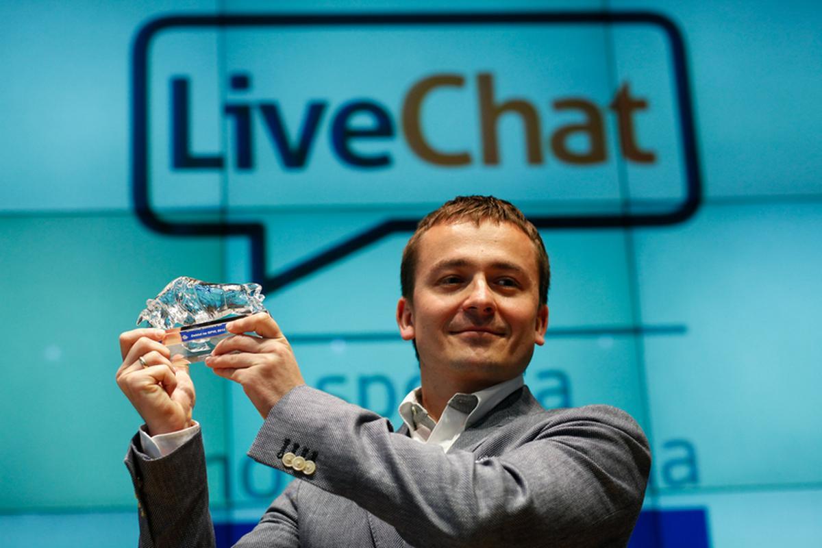 Mariusz Ciepły i debiut giełdowy LiveChata w 2014 r.