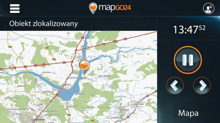 W ramach platformy mapGO24 można na bieżąco śledzić położenie obiektu