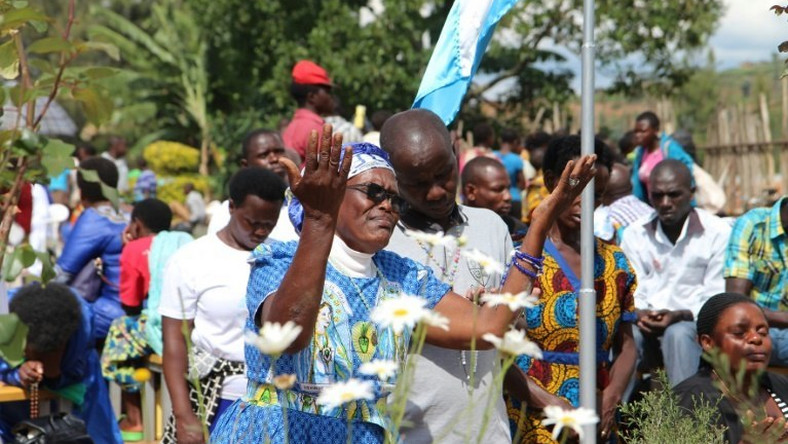 Catholic pilgrims gather for celebrations in Kibeho in southern Rwanda to mark the anniversary of the reported apparition of the Virgin Mary in 1981 in the hope of receiving miracles and being healed from illnesses and disabilities