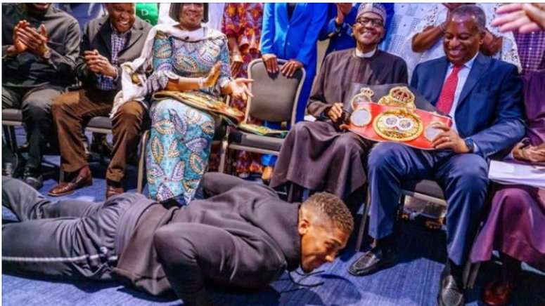 Image result for anthony joshua meets buhari