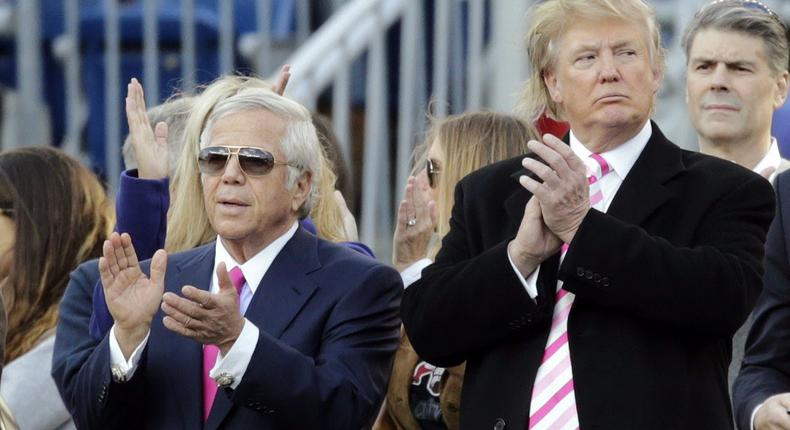 Donald Trump and New England Patriots owner Robert Kraft prior to a game.