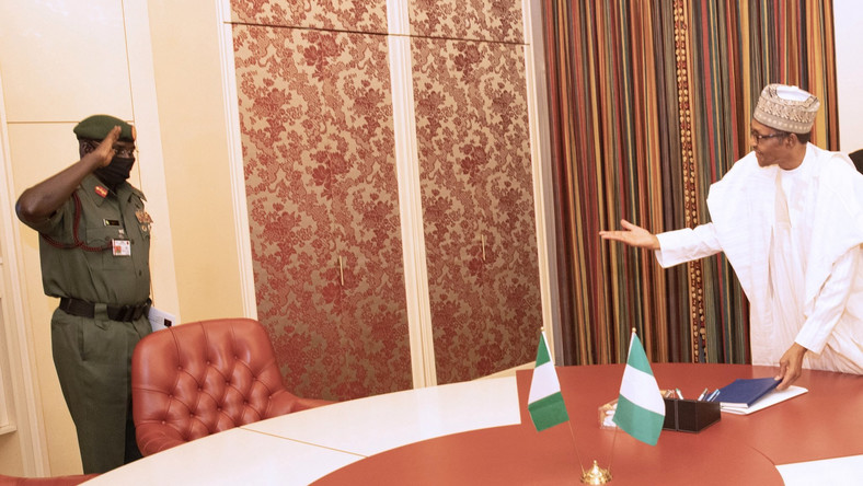 Buratai briefs Buhari on successes of troops against Boko Haram/ISWAP in Northeast. [Twitter/@NGRPresident]