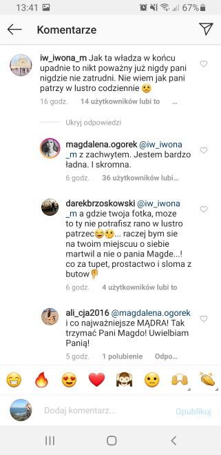 Widok z profilu Magdaleny Ogórek na Instagramie