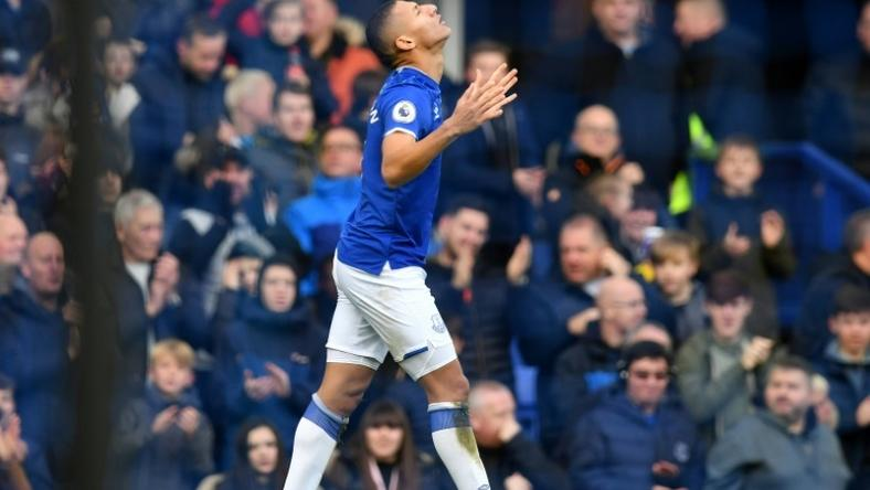 Everton forward Richarlison celebrates after scoring against Chelsea at Goodison Park