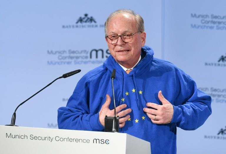 At the Munich Security Conference, the hoodie got more attention than the organiser's dire warnings about the collapse of the post-World War II global order (FILES) In this file photo taken on February 15, 2019 Wolfgang Ischinger, chairman of the Munich Security Conference (MSC), wears a hoodie with the European flag with one missing star while giving a speech to open the 55th Munich Security Conference in Munich, southern Germany. The EUnify hooded sweatshirt from a Berlin-based underground label popular with young people turned into a must-have fashion accessory for many German candidates, right and left, ahead of the May 26, 2019 European elections.