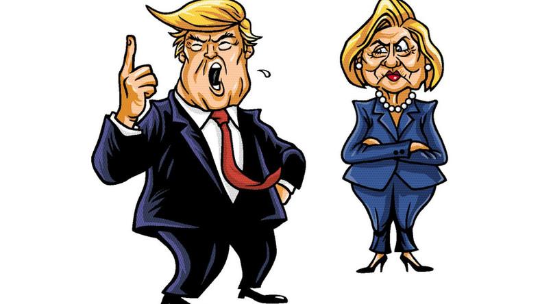 Donald Trump i Hillary Clinton w karykaturze