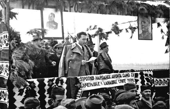 Ranković govori negde u Srbiji, 1946.